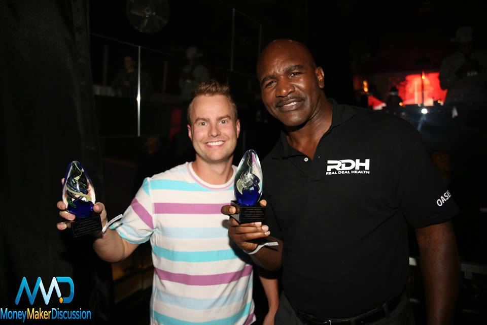 Affy Award with John Rampton and evander holyfield