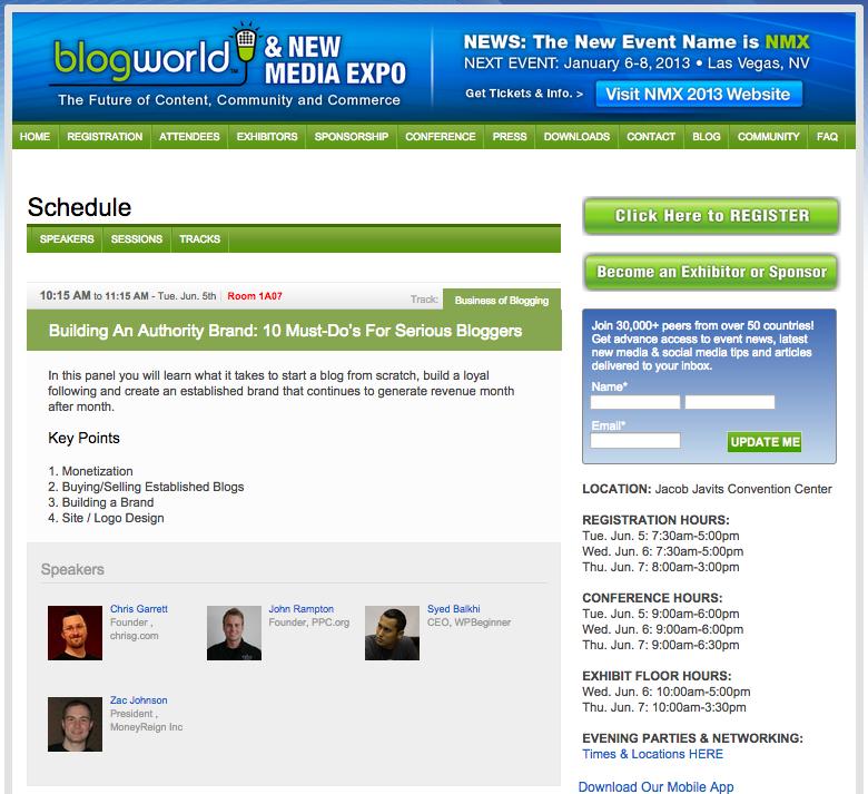 John Rampton Speaking at BlogWorld