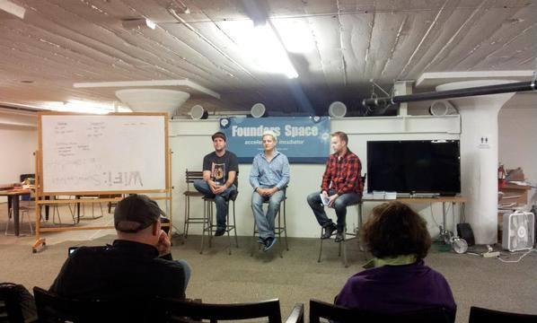 John Rampton speaking at founders space with Murray Newlands and Drew Hendricks