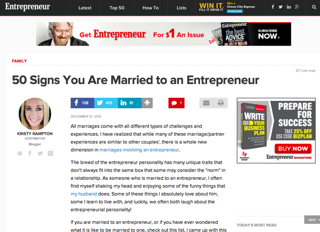 Kristy Rampton on Entrepreneur - 50 Signs You Are Married to an Entrepreneur