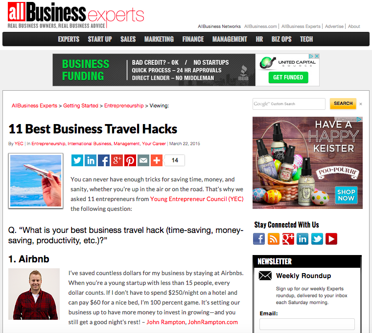 11 Best Business Travel Hacks - john rampton