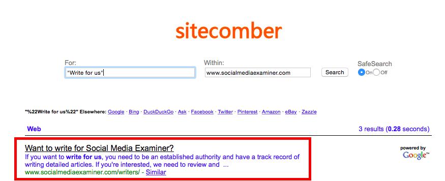 Sitecomber screenshot
