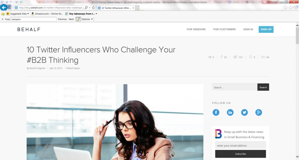 10 Twitter Influencers Who Challenge Your #B2B Thinking-with John Rampton