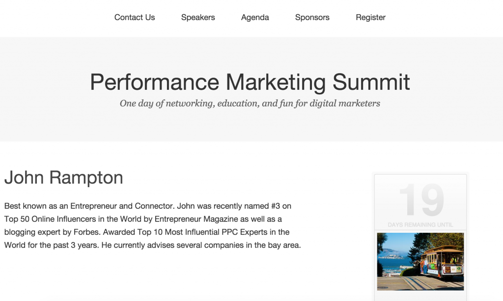 John Rampton bio for Performance Marketing Summit