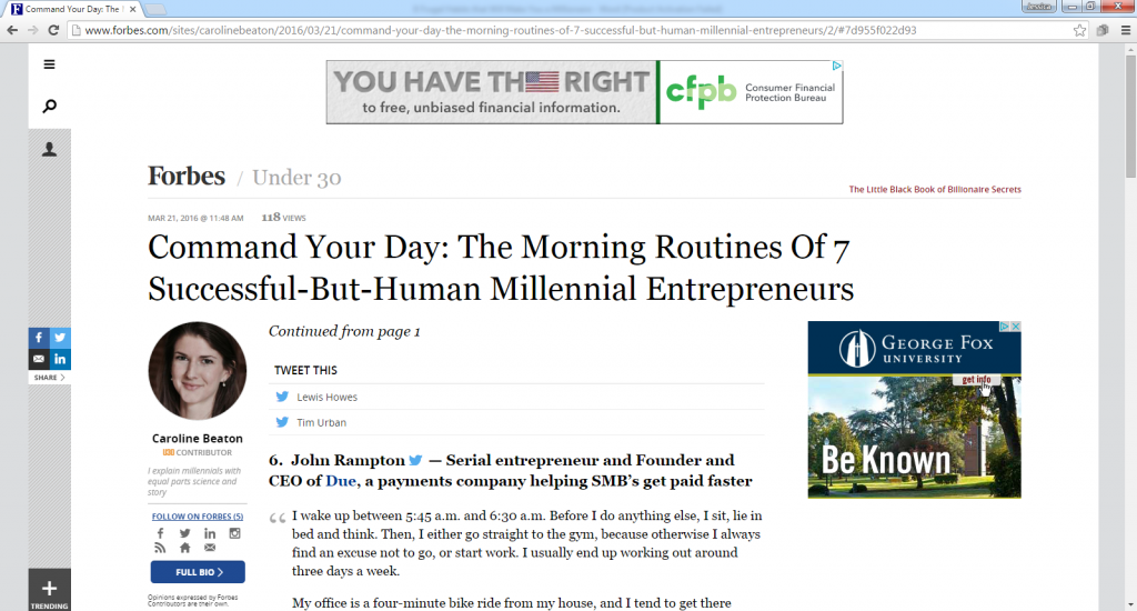 Command Your Day The Morning Routines of 7 Successful-But-Human Millennial Entrepreneurs-with John Rampton