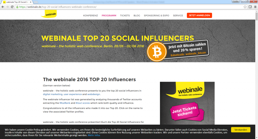 The webinale 2016 Top 20 Influencers-with John Rampton