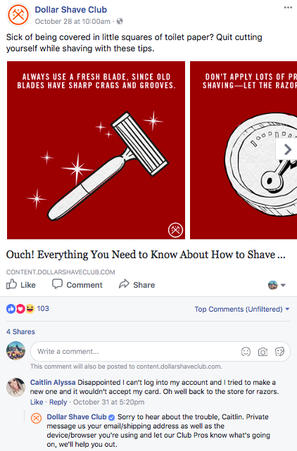 Dollar Shave Club Facebook post